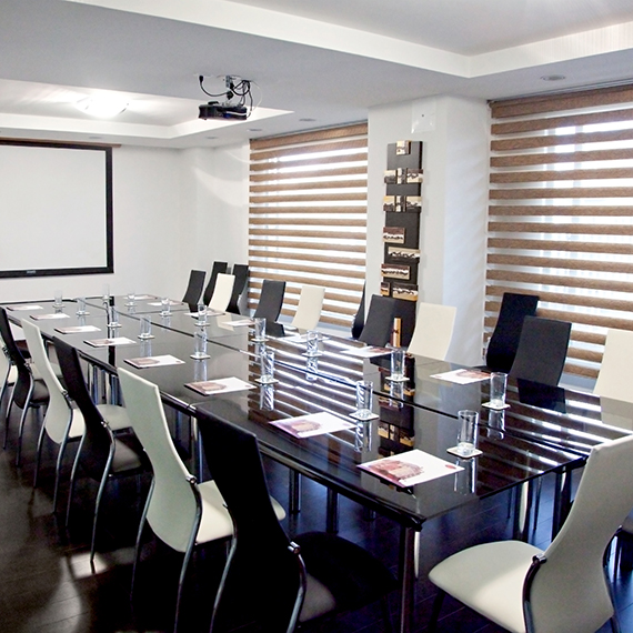 Includes a minibar, a private seating area and a private terrace with sea view and is ideal for private meetings in a informal atmosphere. With a 70mq surface, it provides room for 10 to 20 people.